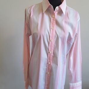 J Crew womens button up, large slim fit LS
